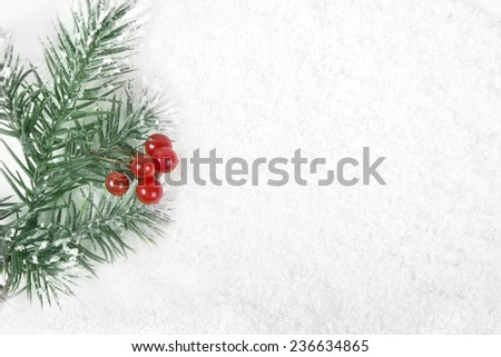 Christmas border frame with snow tree and red berries on snowy surface - stock photo