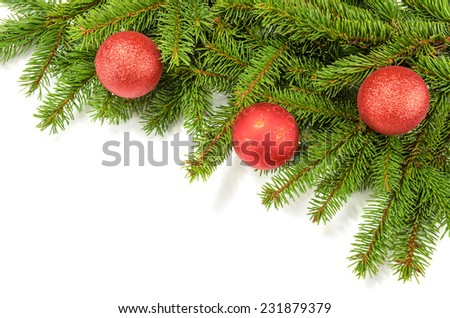 christmas border from green branches and red balls - stock photo