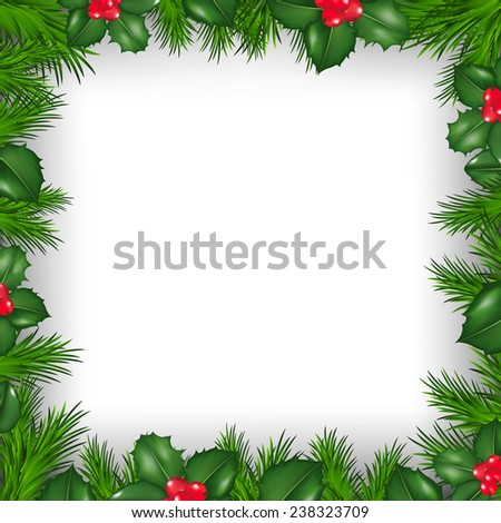 Christmas Border From Holly Berry  - stock photo