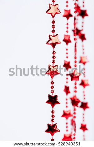 Christmas border. Holiday red stars background with space for text