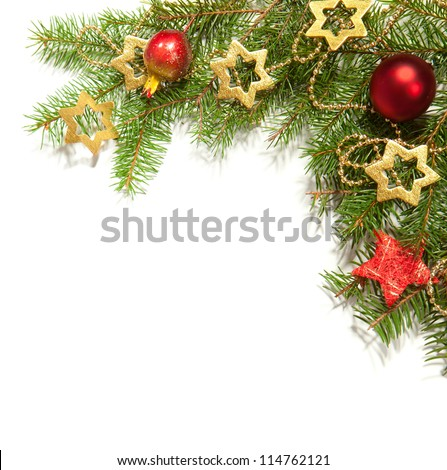 Christmas Border isolated on white - stock photo