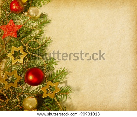 Christmas border. old paper - stock photo