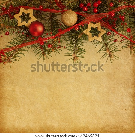 Christmas border on  old paper  - stock photo