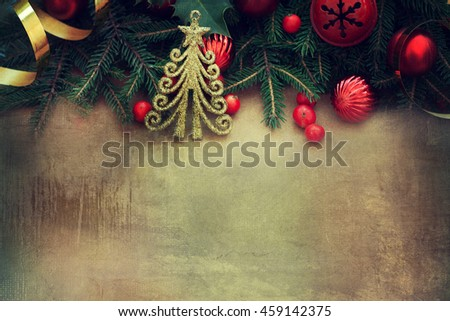 Christmas border on the wooden background