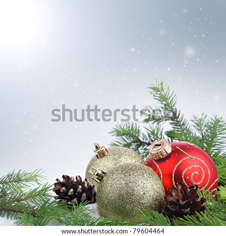 Christmas border with baubles and snow