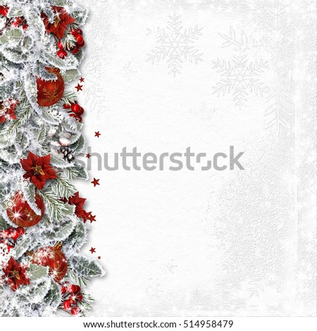 Christmas border with branches, balls and poinsettia on white background