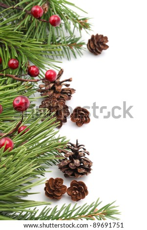 Christmas border with cones, berries and pine branches isolated on white background. Shallow dof - stock photo