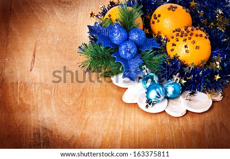 Christmas border with decoration, ornament  on a wooden background - stock photo