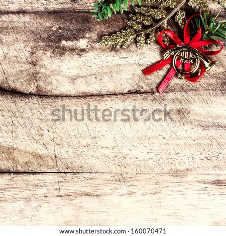 Christmas border with  festive decorations and copy space on wooden old background. Vintage Christmas tree frame.  - stock photo