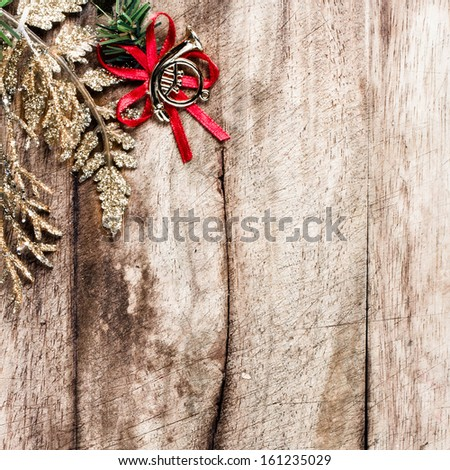 Christmas border with  festive decorations and copy space on wooden old background. Vintage Christmas  frame.  - stock photo