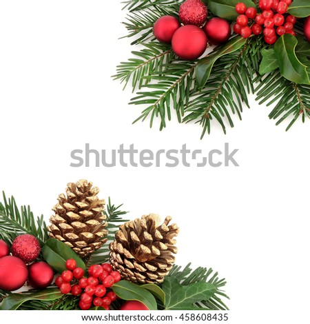 Christmas border with flora and red baubles, holly, ivy, gold pine cones and winter greenery over white background.