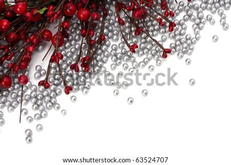 Christmas border  with hawthorn - stock photo