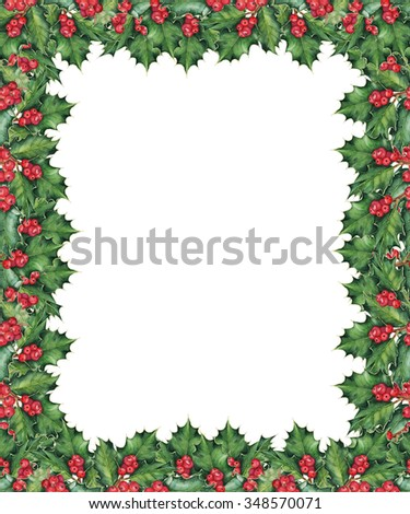 Christmas border with holly branches. Original watercolor hand drawn pattern. - stock photo