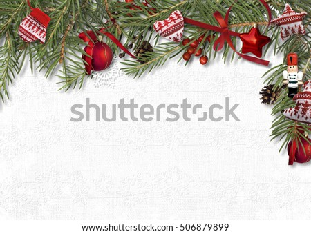 Christmas border with nutcracker, fir and cozy decorations on white background, postcard