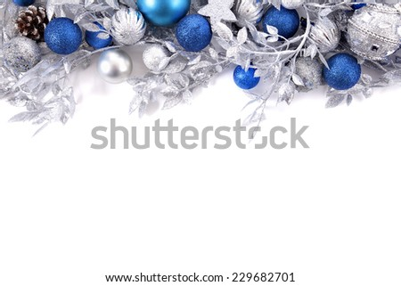 Christmas border with traditional decorations. Space for copy. - stock photo