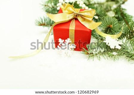 Christmas border - Xmas tree, gift and snowflake on white - stock photo
