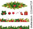 Christmas Borders Set With Xmas Garland, Isolated On White Background - stock photo