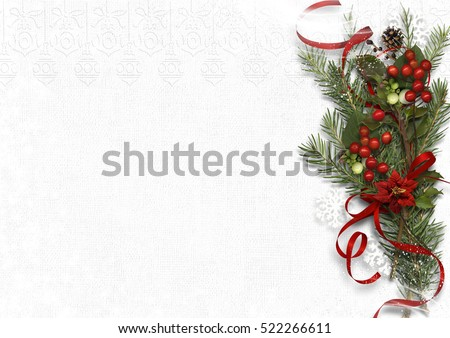 Christmas bouquet with mistletoe and holly on white background