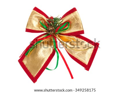 Christmas bow on white background, clipping path.