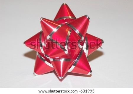Christmas Bow Red with silver trim - stock photo