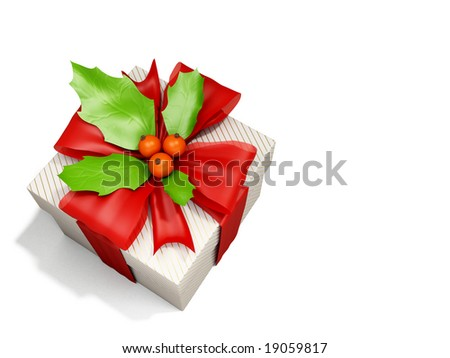 Christmas box decorated by holly berry - stock photo