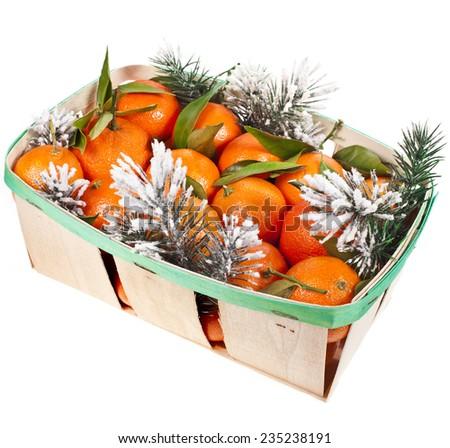 Christmas   box full orange mandarins isolated on white - stock photo