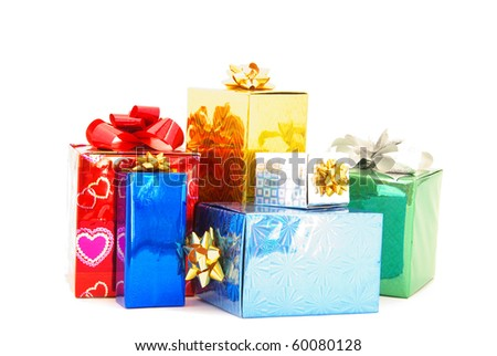 christmas box gifts - stock photo