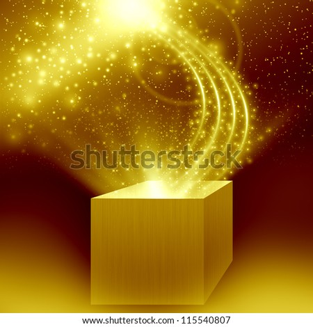 christmas box with golden light