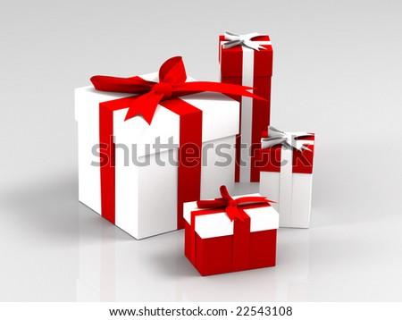 Christmas boxes - stock photo