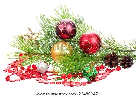 Christmas branch tree with decoration - stock photo
