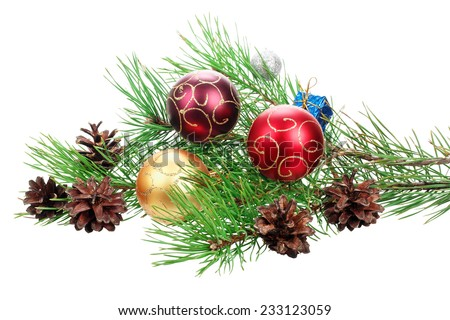 Christmas branch tree with decoration isolated on the white background - stock photo