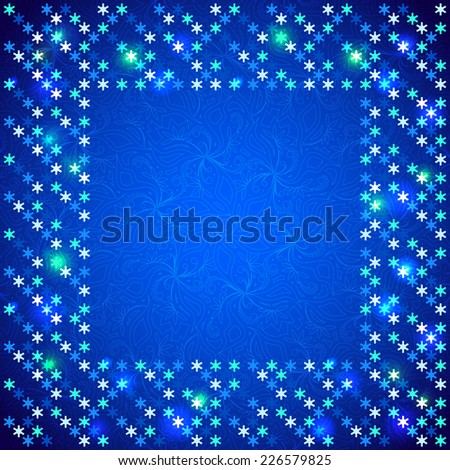 Christmas bright frame with shiny sequins in the form of snowflakes on a dark blue background in disco style