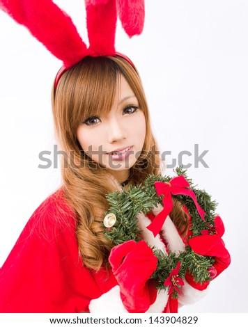 Christmas bunny  girl japanese style - stock photo