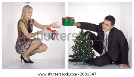 christmas businesspeople in the white cubes - stock photo