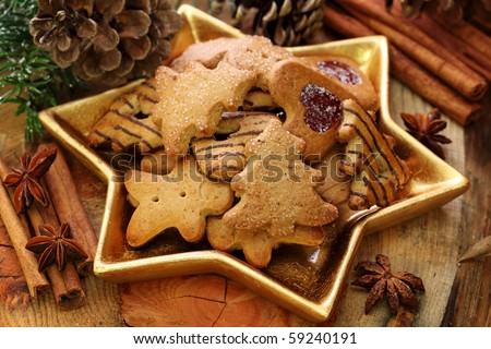 Christmas cakes on brown background - stock photo