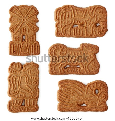 Christmas cakes speculaas isolated on white background - stock photo
