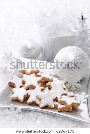 Christmas cakes with white decoration - stock photo
