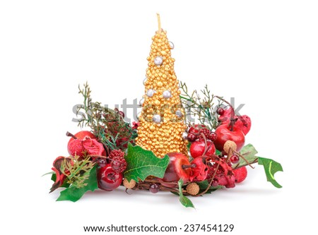 Christmas candle and  decoration with red apples isolated on white background. - stock photo