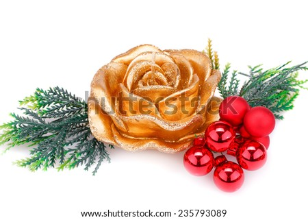 Christmas candle, balls and  fir tree branch isolated on white background. - stock photo