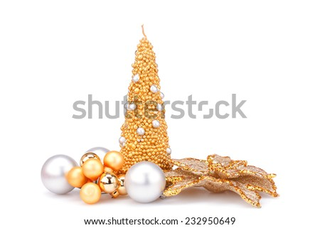 Christmas candle, balls and  flower decoration isolated on white background. - stock photo