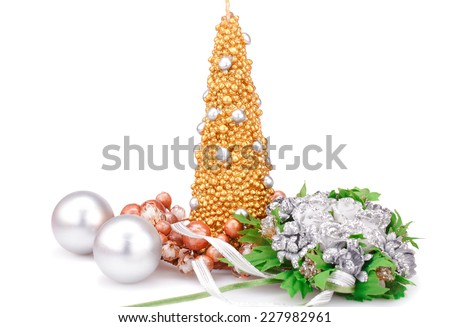 Christmas candle, balls and  flowers isolated on white background. - stock photo