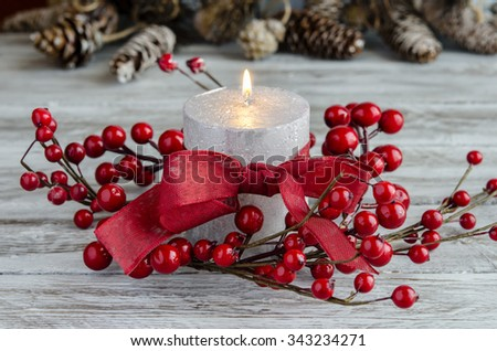 Christmas candle, home decoration - stock photo