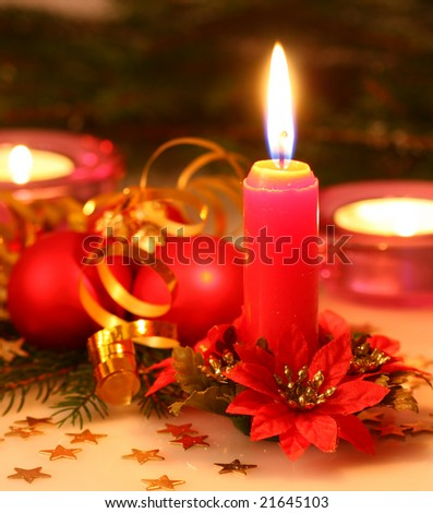 Christmas candle light - stock photo