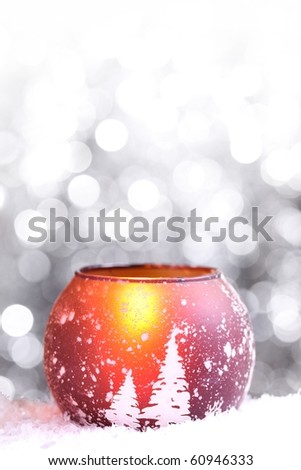 Christmas candle on abstract background - stock photo