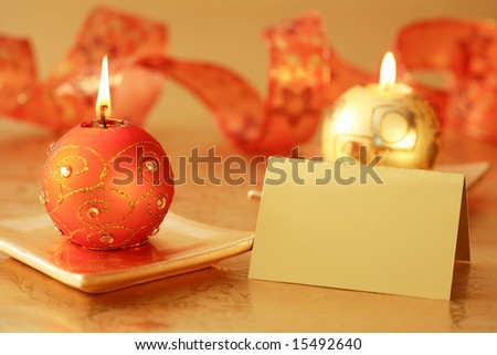 Christmas candle with label for your text - stock photo