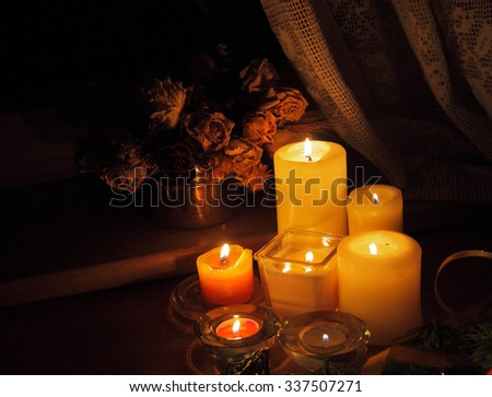 Christmas candles and decorations
