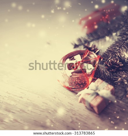 Christmas candles and wooden horse with fur and pine cone in vintage style / toned pictures - stock photo