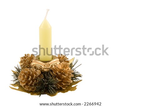 Christmas candlestick isolated on white - stock photo