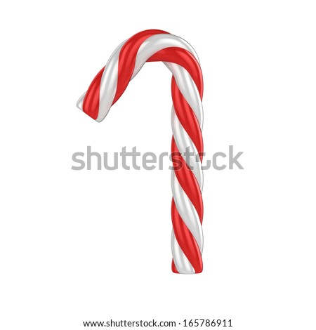 christmas candy cane 3d font - number 1 - stock photo