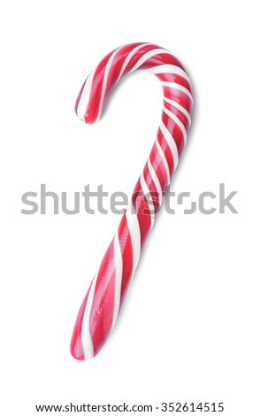 Christmas candy cane isolated on a white. - stock photo